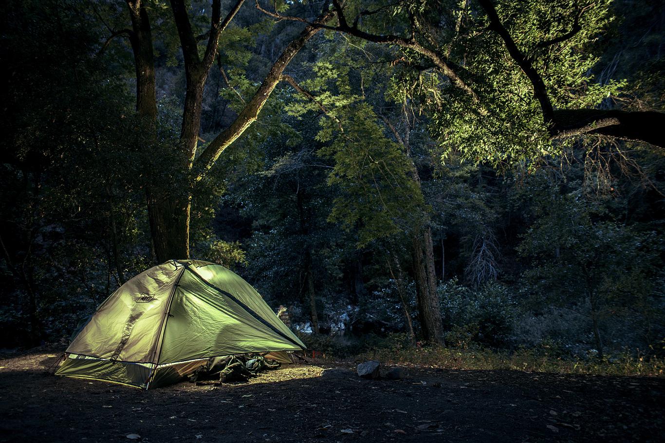 Cozy camp at Ventana. Backpacking at big sur, ca