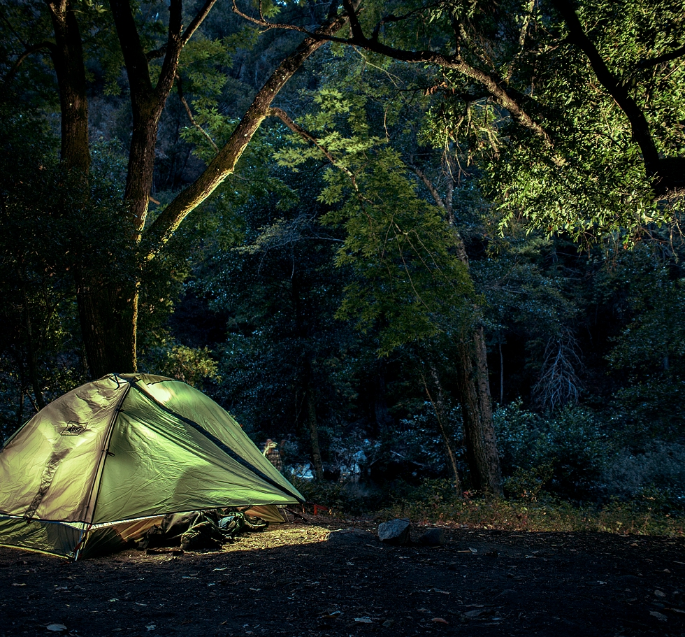 Cozy camp at Ventana. Backpacking at big sur, ca