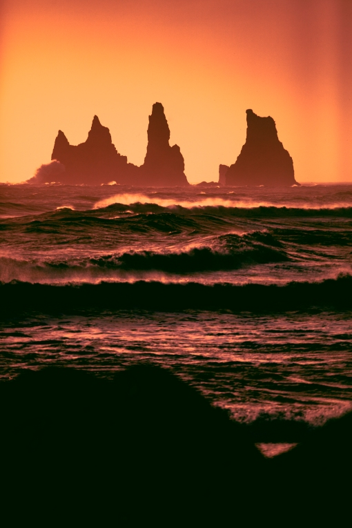 The rocky spires of Raynisdrangar, off the coast of the town of Vik