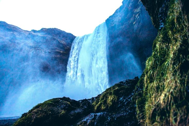 The quiet but massive falls of Skogafoss